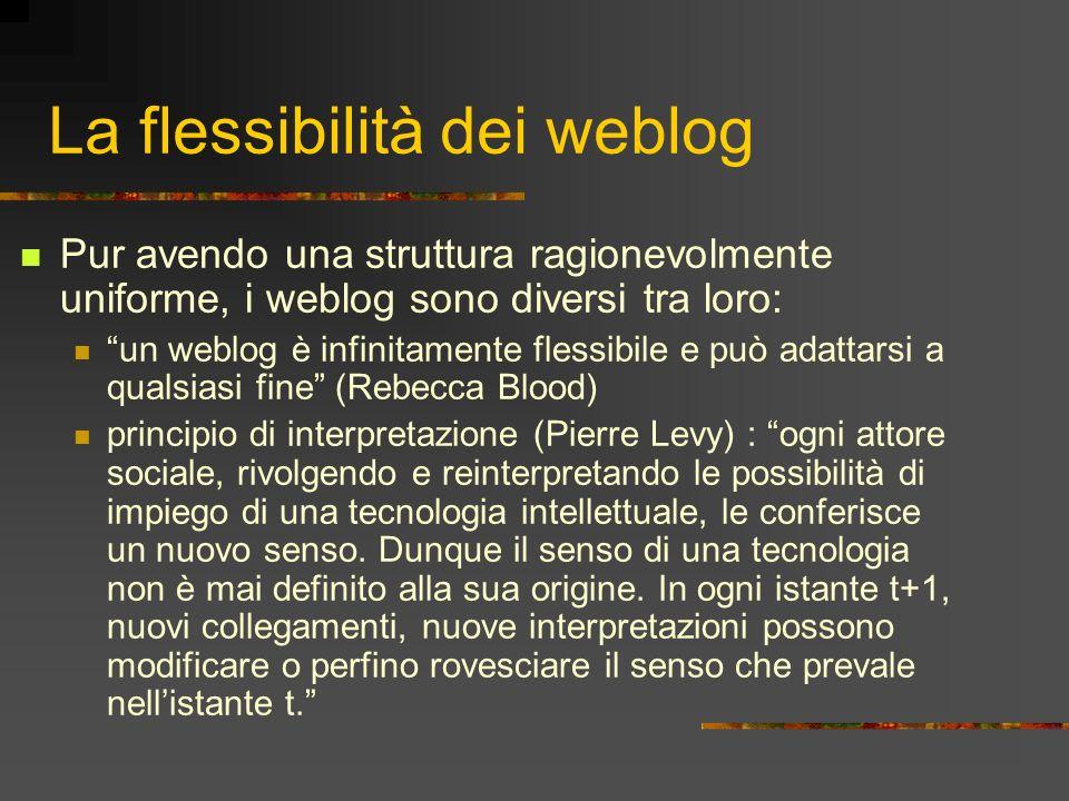 La flessibilità dei weblog