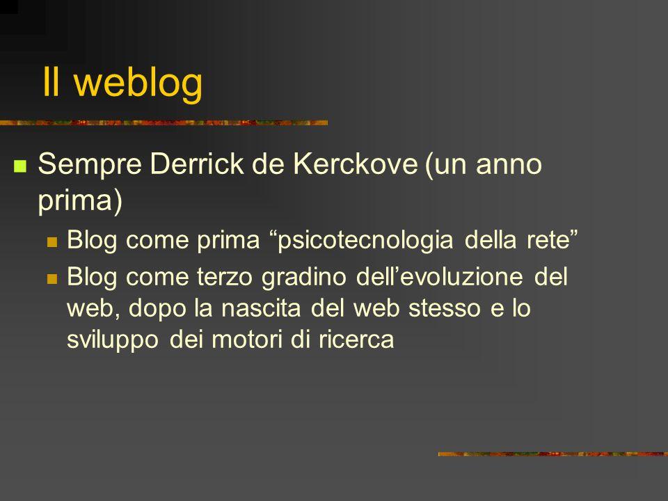 Il weblog Sempre Derrick de Kerckove (un anno prima)