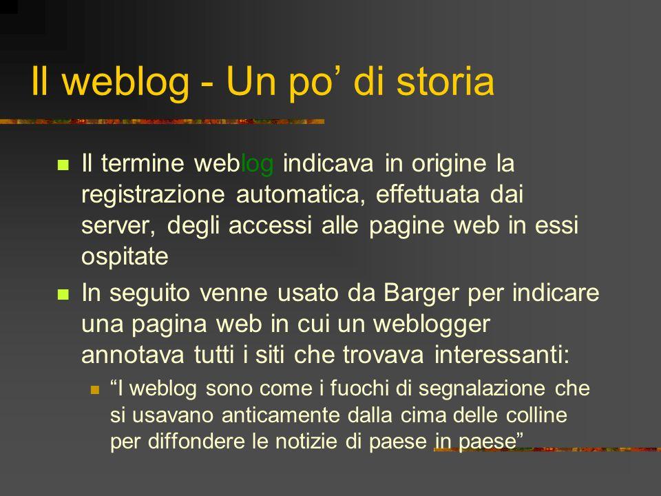 Il weblog - Un po' di storia