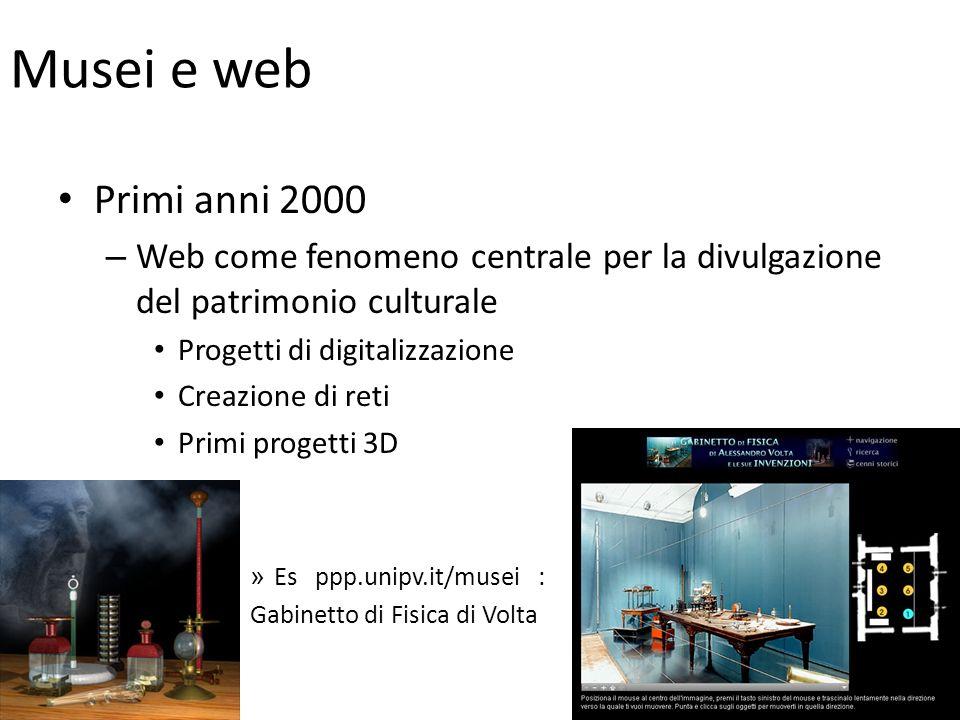 Musei e web Primi anni 2000. Web come fenomeno centrale per la divulgazione del patrimonio culturale.