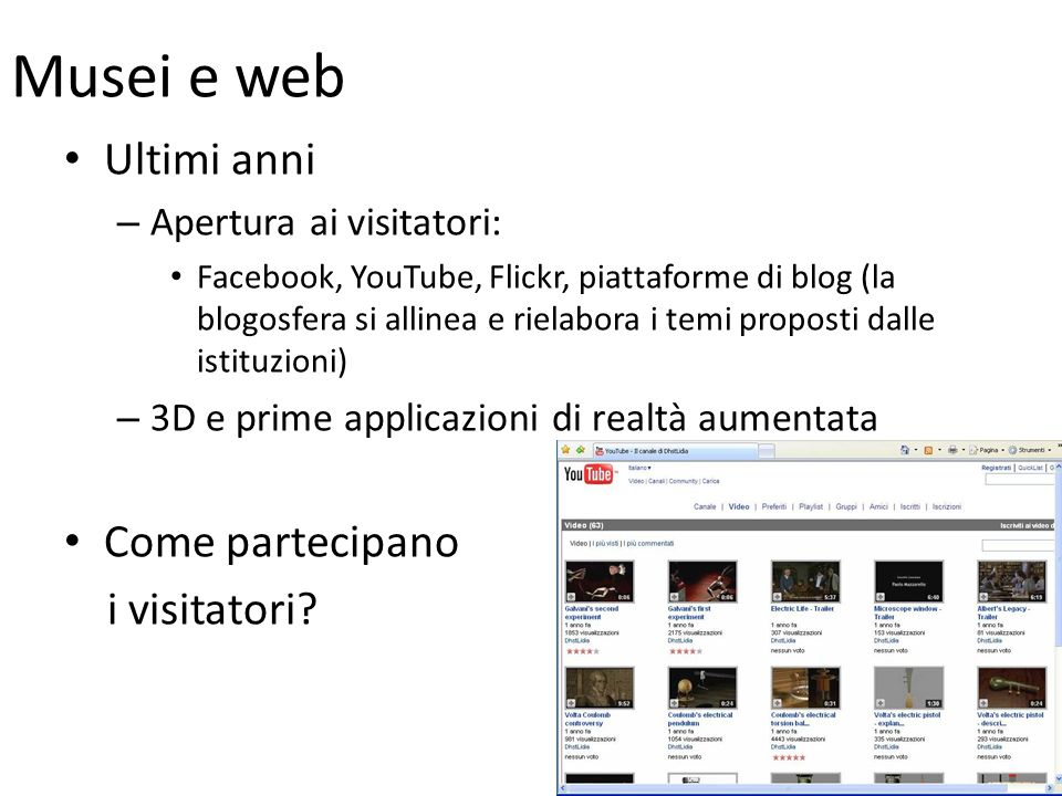 Musei e web Ultimi anni Come partecipano i visitatori