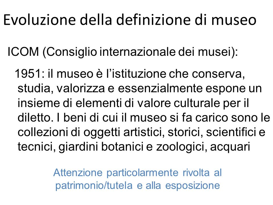 Evoluzione della definizione di museo