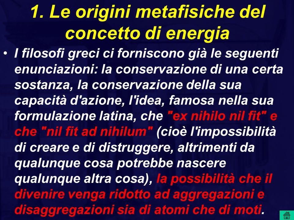 1. Le origini metafisiche del concetto di energia