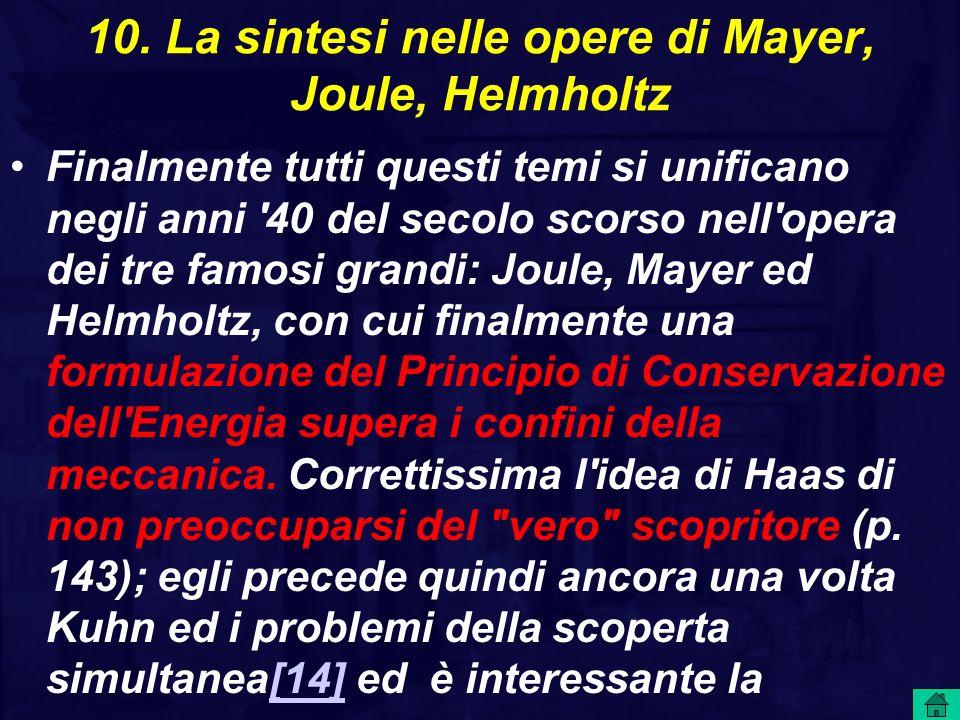 10. La sintesi nelle opere di Mayer, Joule, Helmholtz