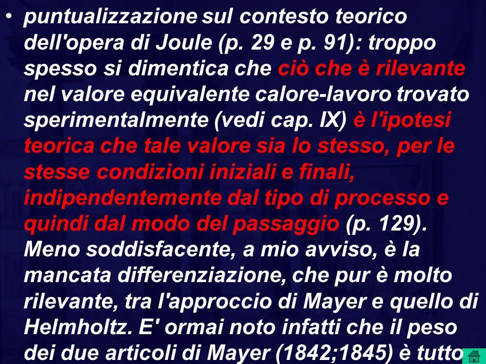 puntualizzazione sul contesto teorico dell opera di Joule (p. 29 e p
