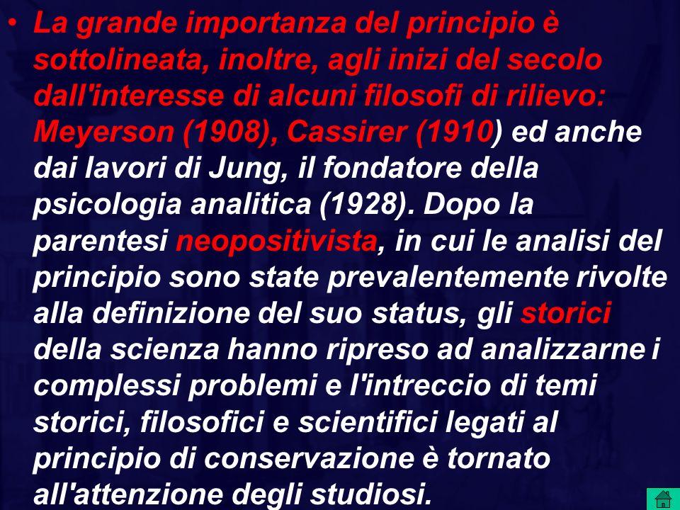 La grande importanza del principio è sottolineata, inoltre, agli inizi del secolo dall interesse di alcuni filosofi di rilievo: Meyerson (1908), Cassirer (1910) ed anche dai lavori di Jung, il fondatore della psicologia analitica (1928).