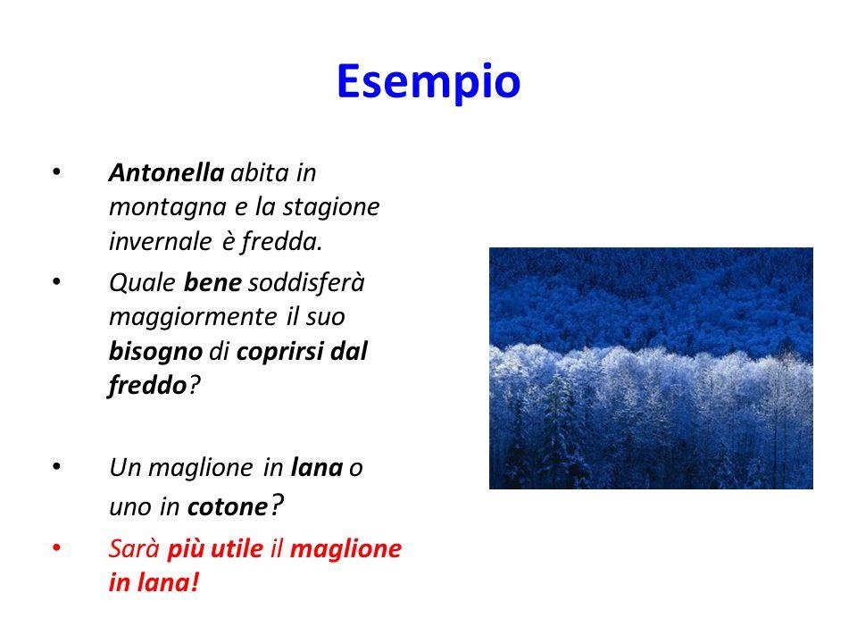 Esempio Antonella abita in montagna e la stagione invernale è fredda.