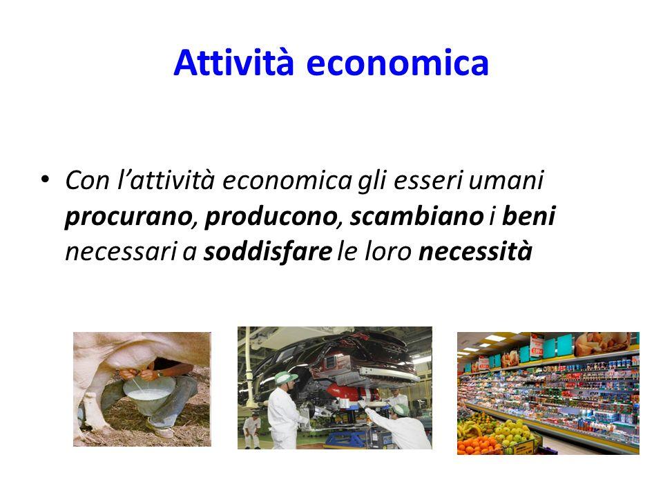 Attività economica Con l'attività economica gli esseri umani procurano, producono, scambiano i beni necessari a soddisfare le loro necessità.