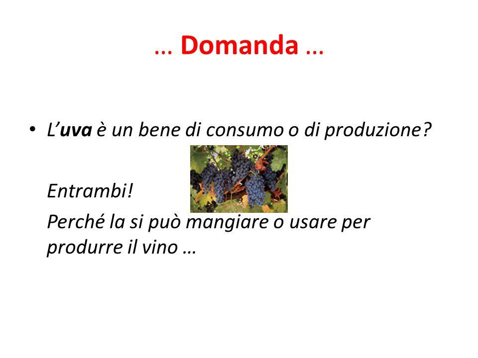 … Domanda … L'uva è un bene di consumo o di produzione Entrambi!