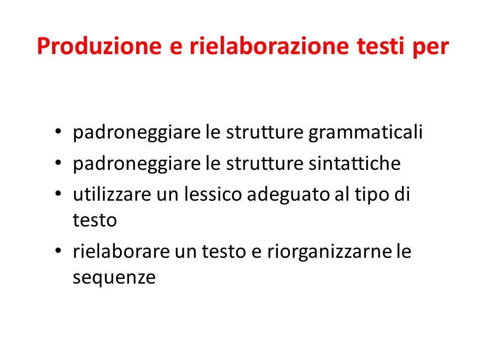 Produzione e rielaborazione testi per