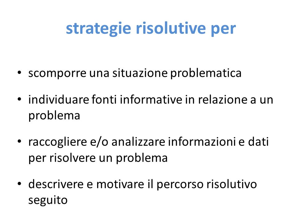 strategie risolutive per