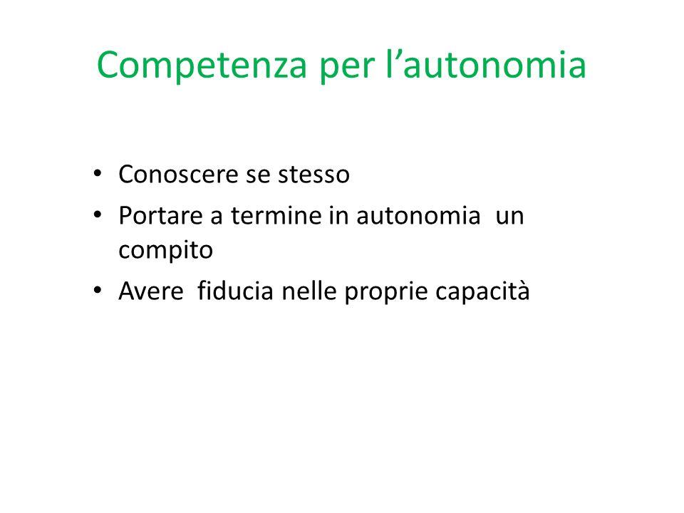 Competenza per l'autonomia
