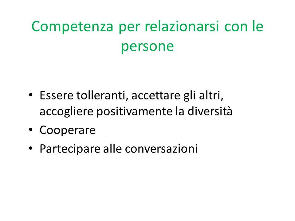 Competenza per relazionarsi con le persone