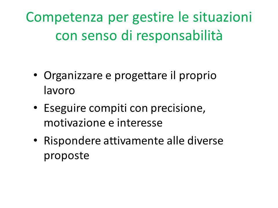 Competenza per gestire le situazioni con senso di responsabilità
