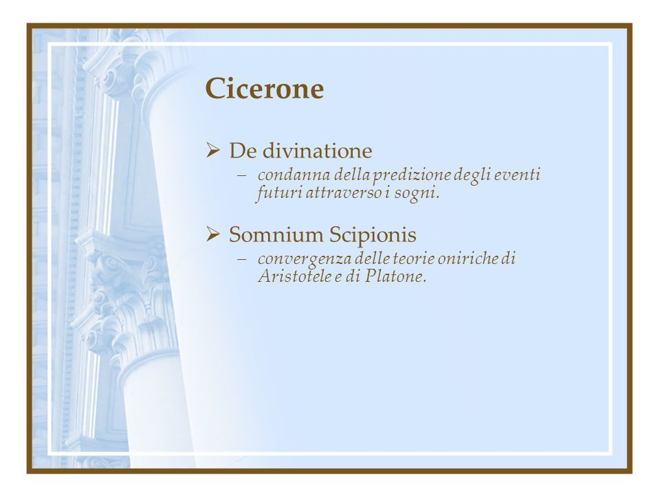 Cicerone De divinatione Somnium Scipionis
