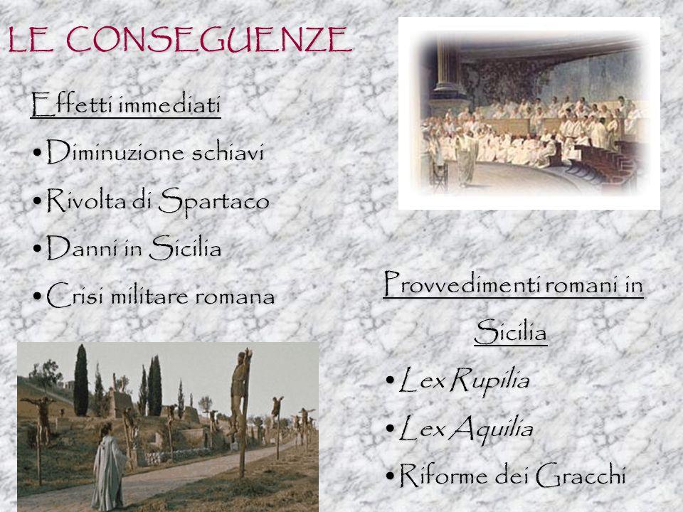 LE CONSEGUENZE Effetti immediati. Diminuzione schiavi. Rivolta di Spartaco. Danni in Sicilia. Crisi militare romana.