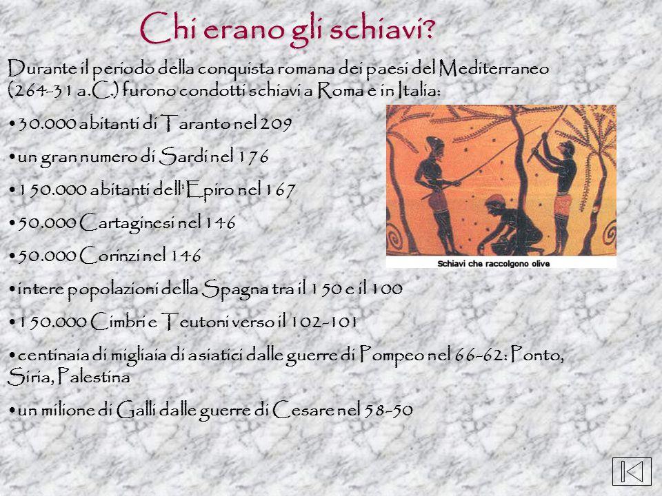Chi erano gli schiavi Durante il periodo della conquista romana dei paesi del Mediterraneo (264-31 a.C.) furono condotti schiavi a Roma e in Italia: