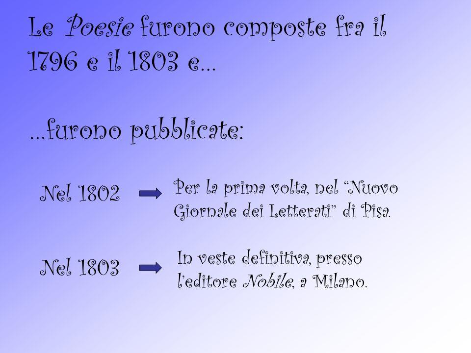 Le Poesie furono composte fra il 1796 e il 1803 e…