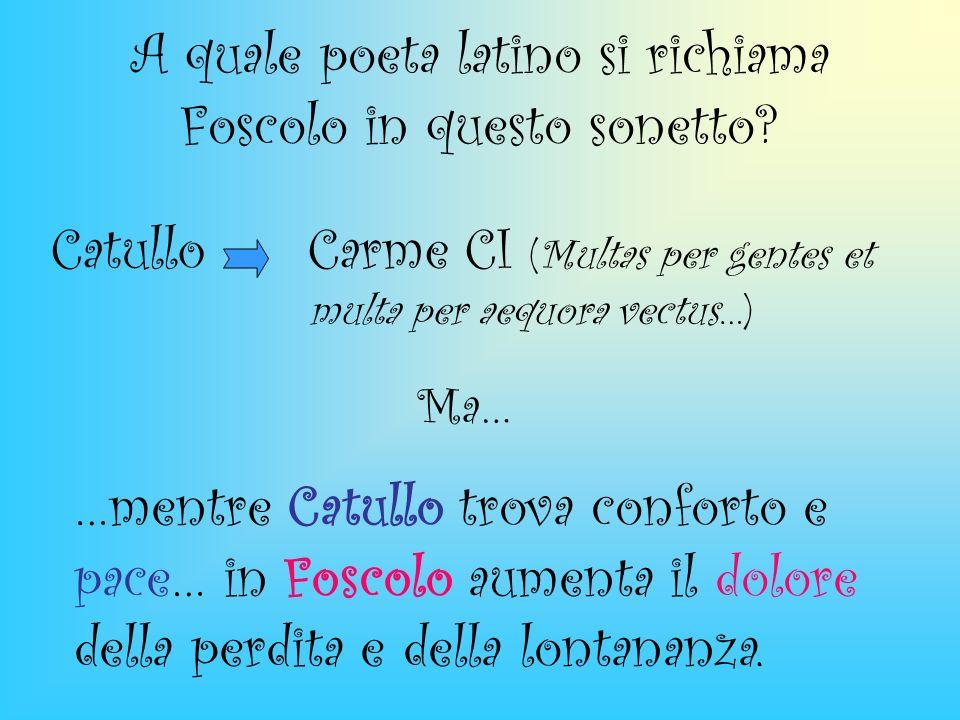 A quale poeta latino si richiama Foscolo in questo sonetto