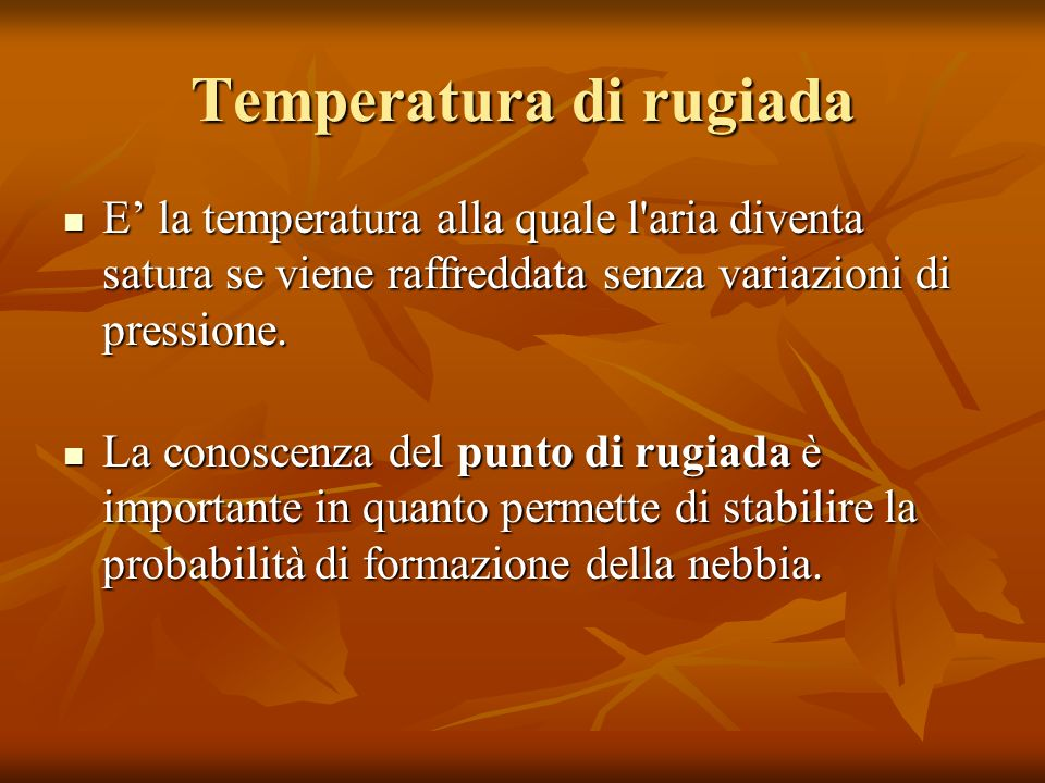 Temperatura di rugiada