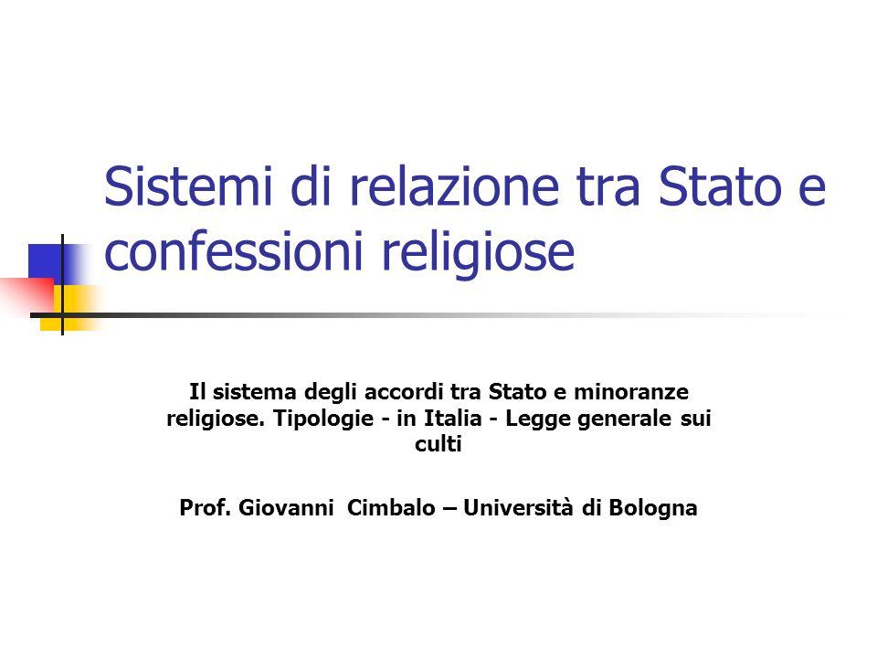 Sistemi di relazione tra Stato e confessioni religiose