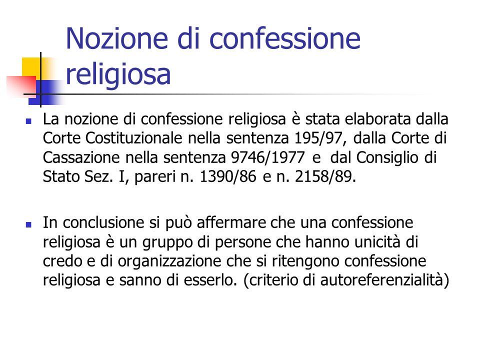 Nozione di confessione religiosa