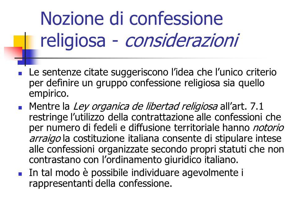 Nozione di confessione religiosa - considerazioni