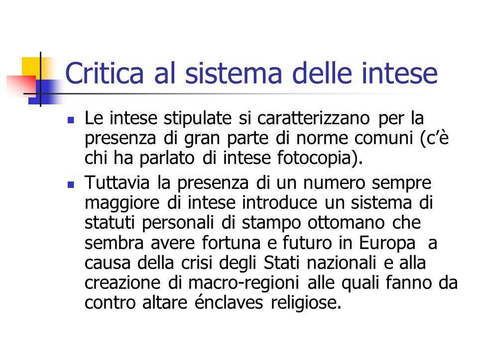 Critica al sistema delle intese