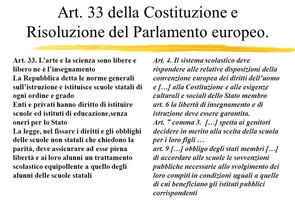 Art. 33 della Costituzione e Risoluzione del Parlamento europeo.