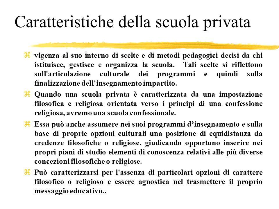 Caratteristiche della scuola privata