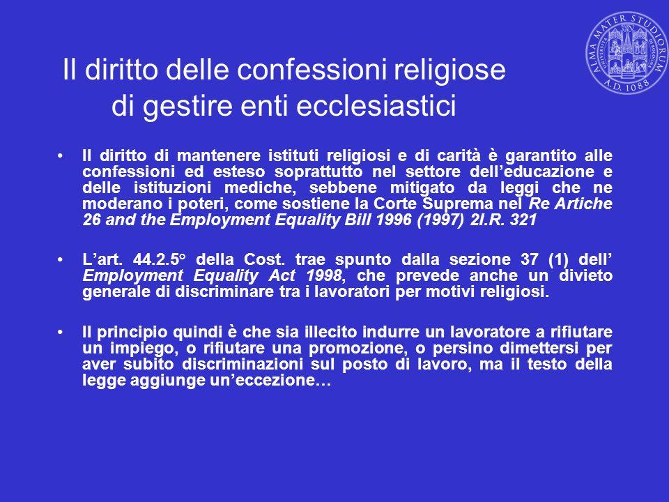 Il diritto delle confessioni religiose di gestire enti ecclesiastici