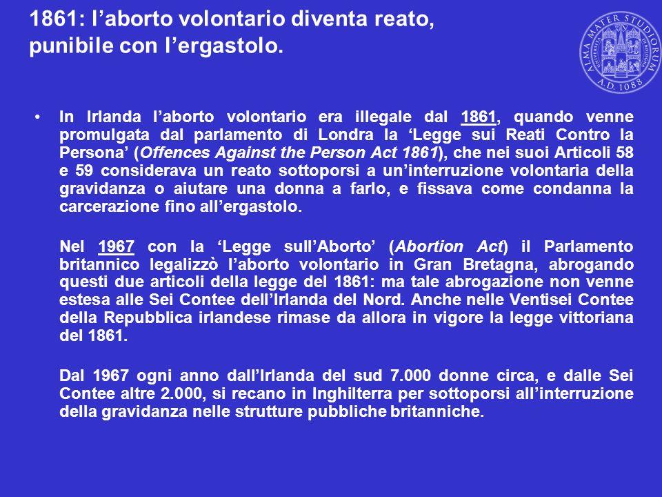 1861: l'aborto volontario diventa reato, punibile con l'ergastolo.