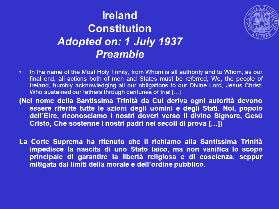 Ireland Constitution Adopted on: 1 July 1937 Preamble