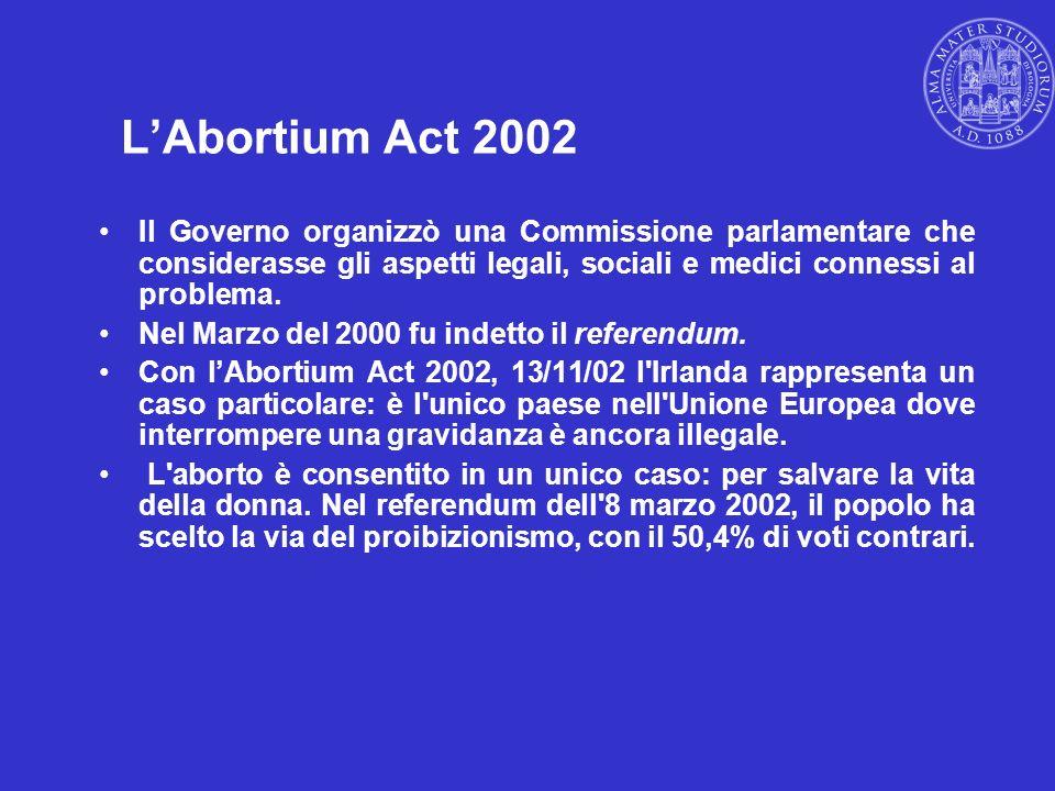 L'Abortium Act 2002 Il Governo organizzò una Commissione parlamentare che considerasse gli aspetti legali, sociali e medici connessi al problema.