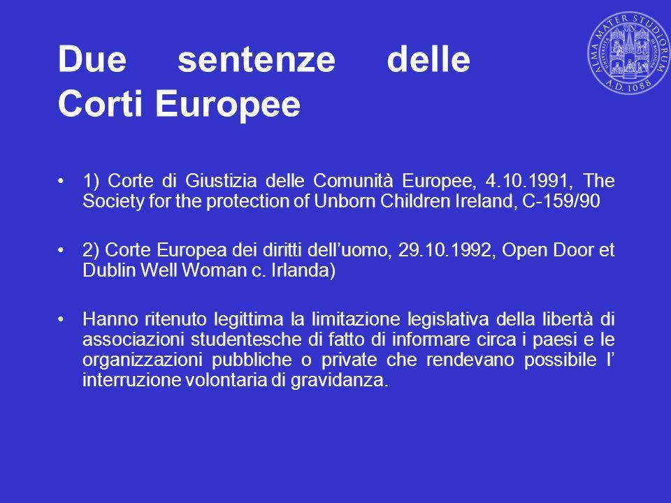 Due sentenze delle Corti Europee