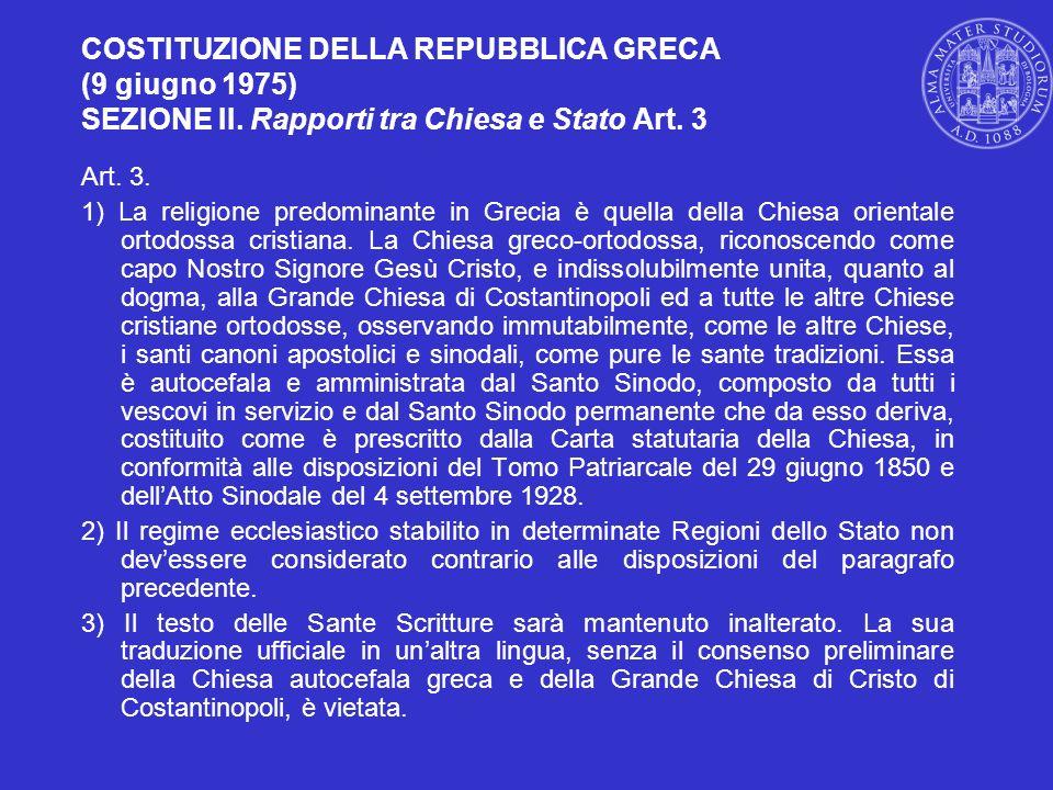 COSTITUZIONE DELLA REPUBBLICA GRECA (9 giugno 1975) SEZIONE II