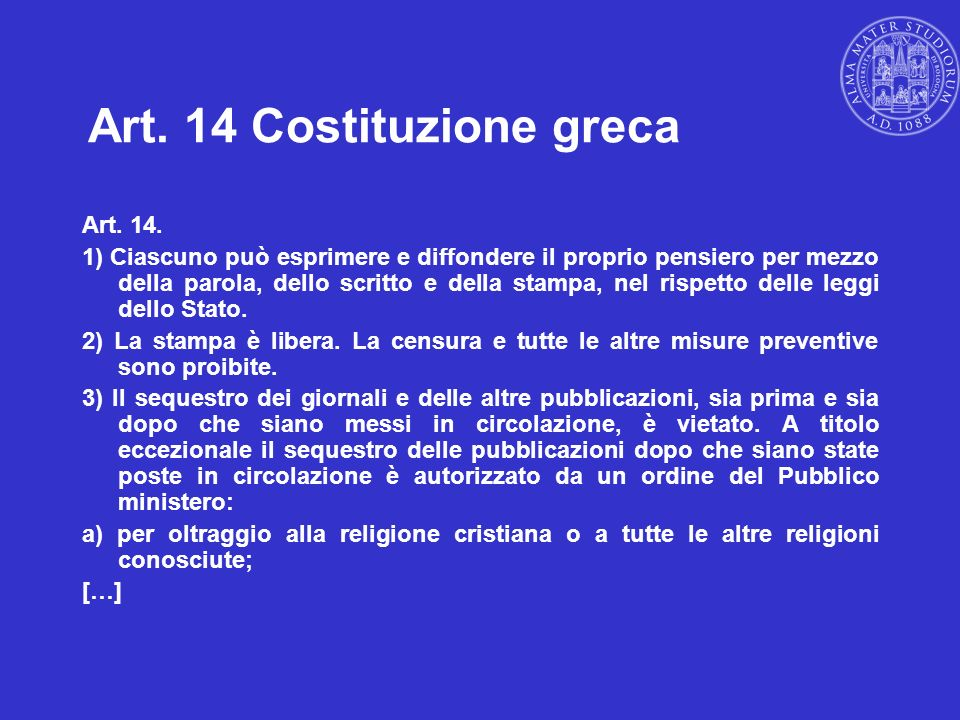 Art. 14 Costituzione greca