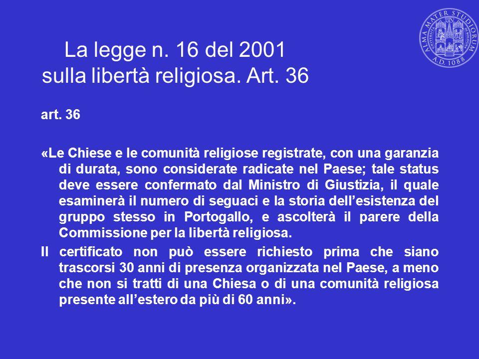 La legge n. 16 del 2001 sulla libertà religiosa. Art. 36