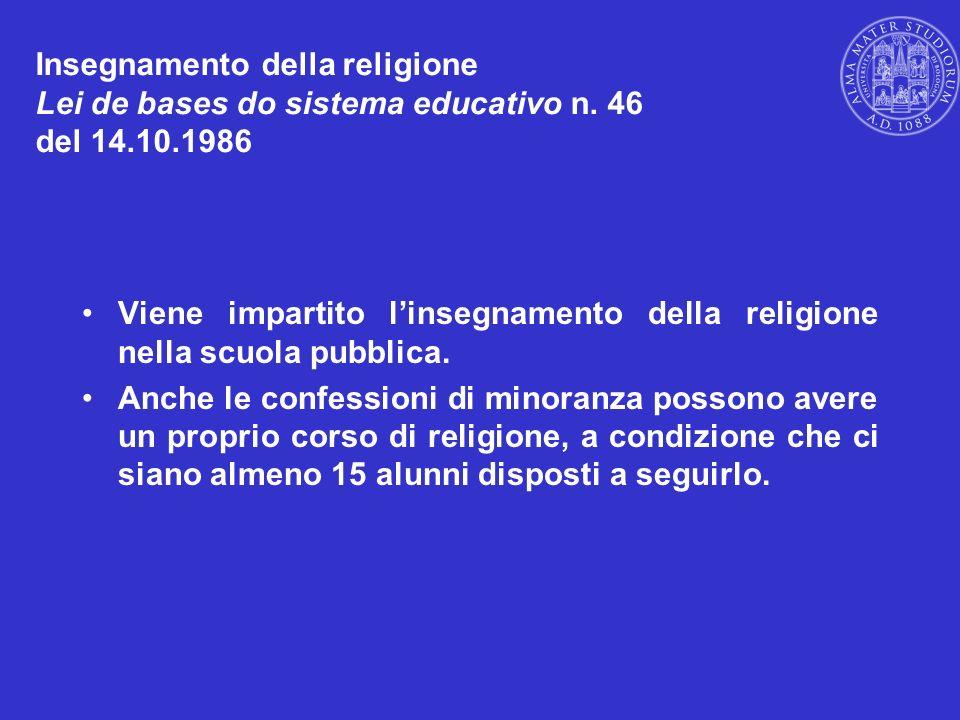 Insegnamento della religione Lei de bases do sistema educativo n