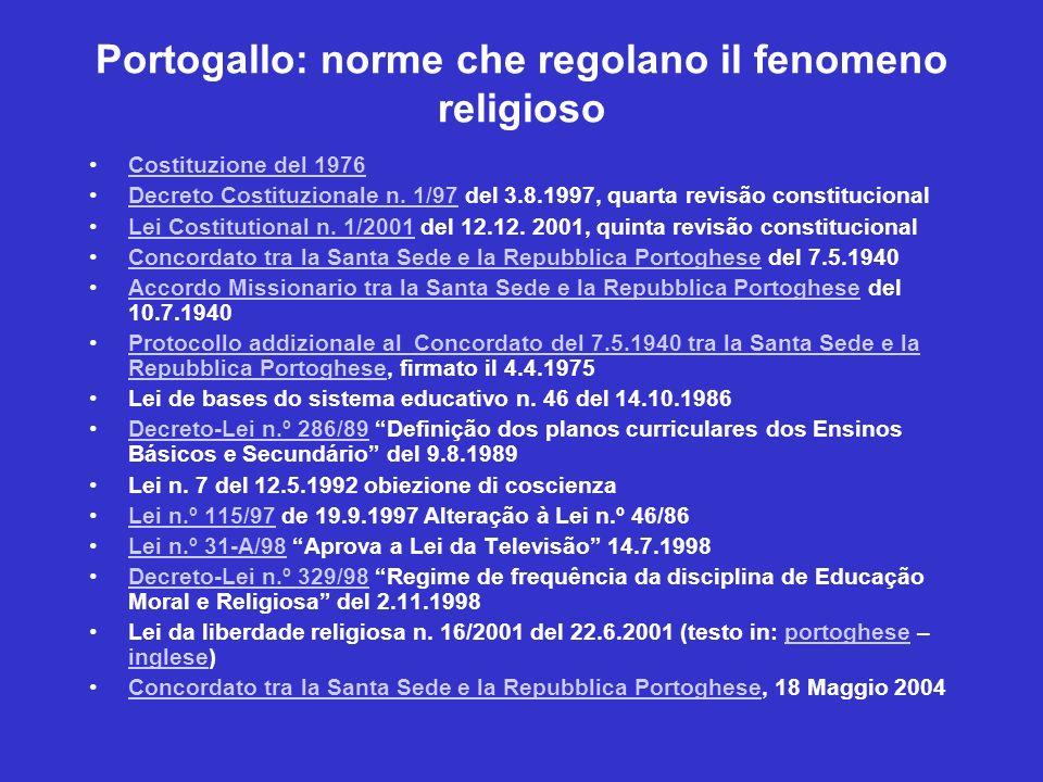 Portogallo: norme che regolano il fenomeno religioso