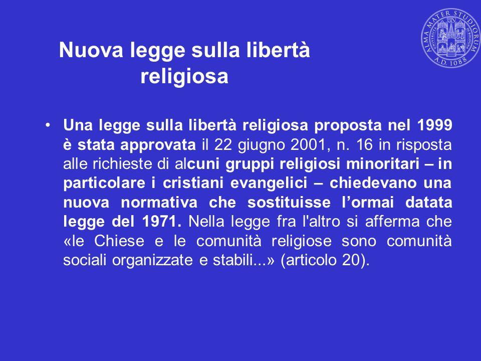 Nuova legge sulla libertà religiosa
