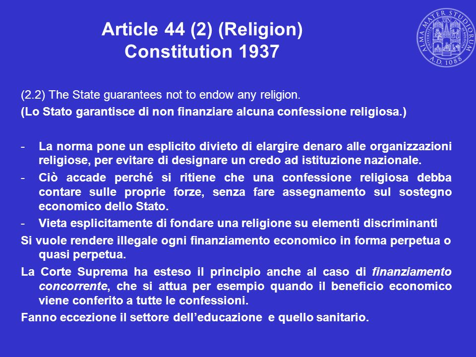 Article 44 (2) (Religion) Constitution 1937