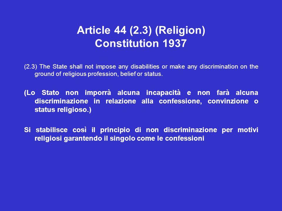 Article 44 (2.3) (Religion) Constitution 1937