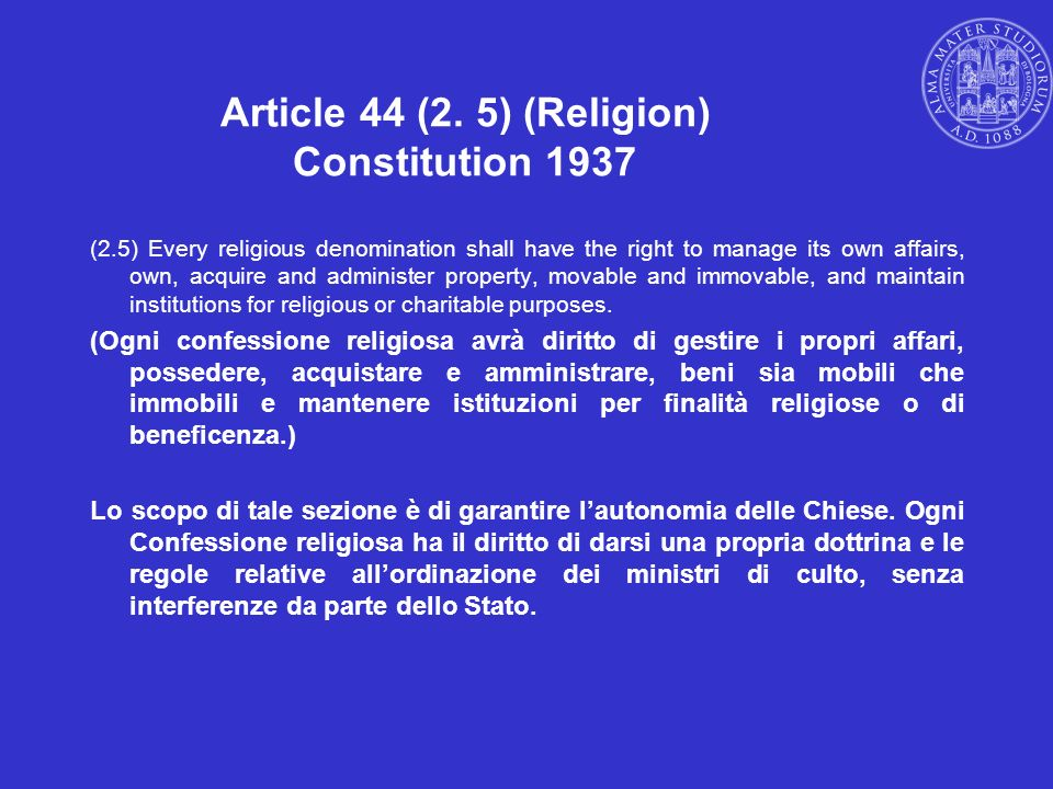 Article 44 (2. 5) (Religion) Constitution 1937