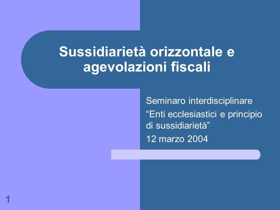 Sussidiarietà orizzontale e agevolazioni fiscali