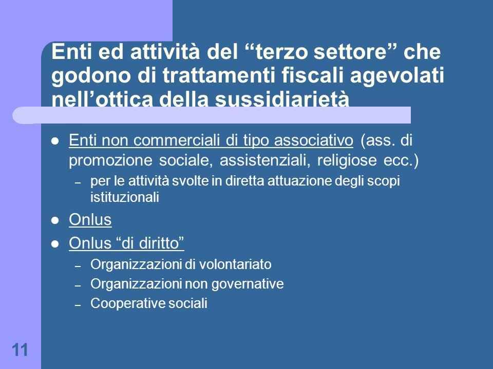 Enti ed attività del terzo settore che godono di trattamenti fiscali agevolati nell'ottica della sussidiarietà
