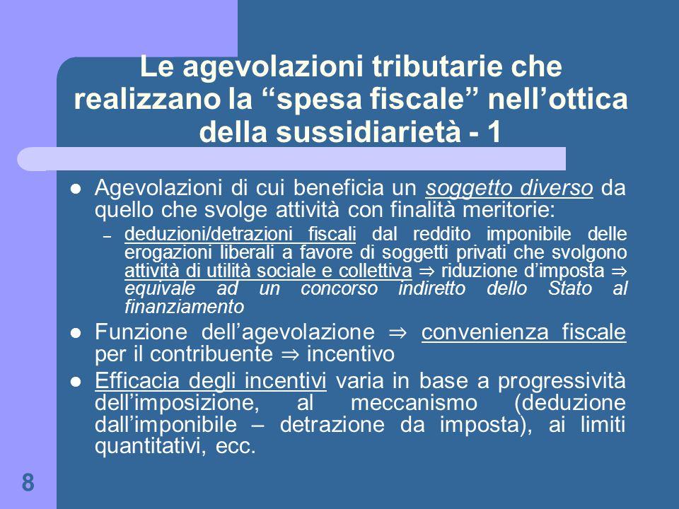 Le agevolazioni tributarie che realizzano la spesa fiscale nell'ottica della sussidiarietà - 1