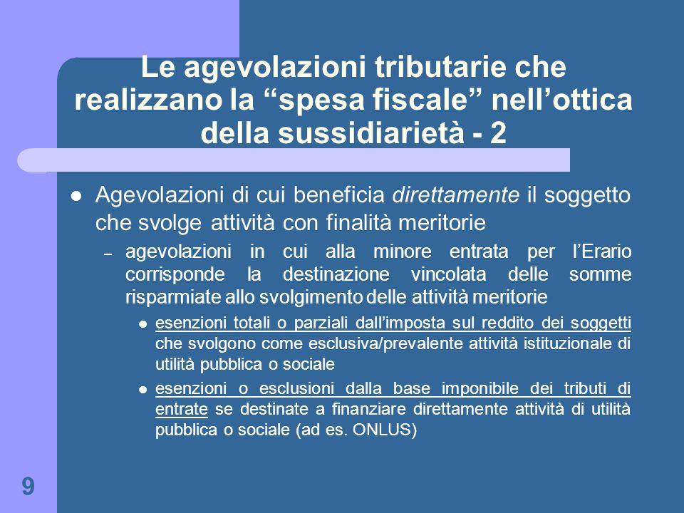 Le agevolazioni tributarie che realizzano la spesa fiscale nell'ottica della sussidiarietà - 2