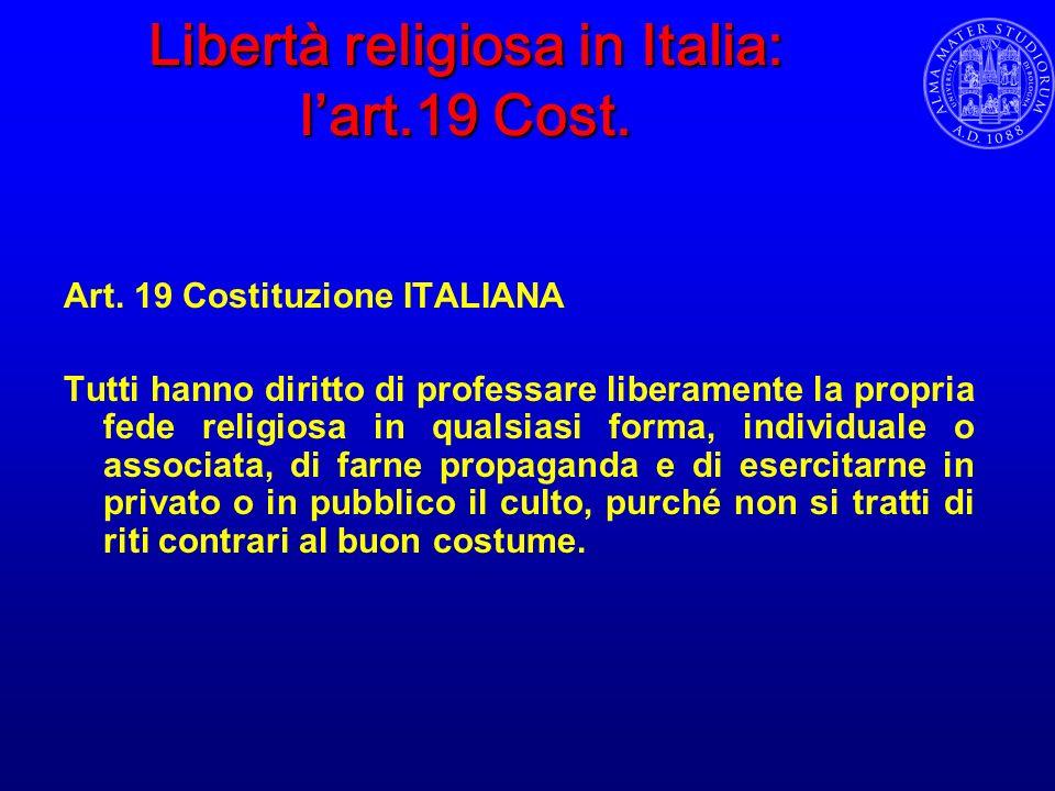 Libertà religiosa in Italia: l'art.19 Cost.