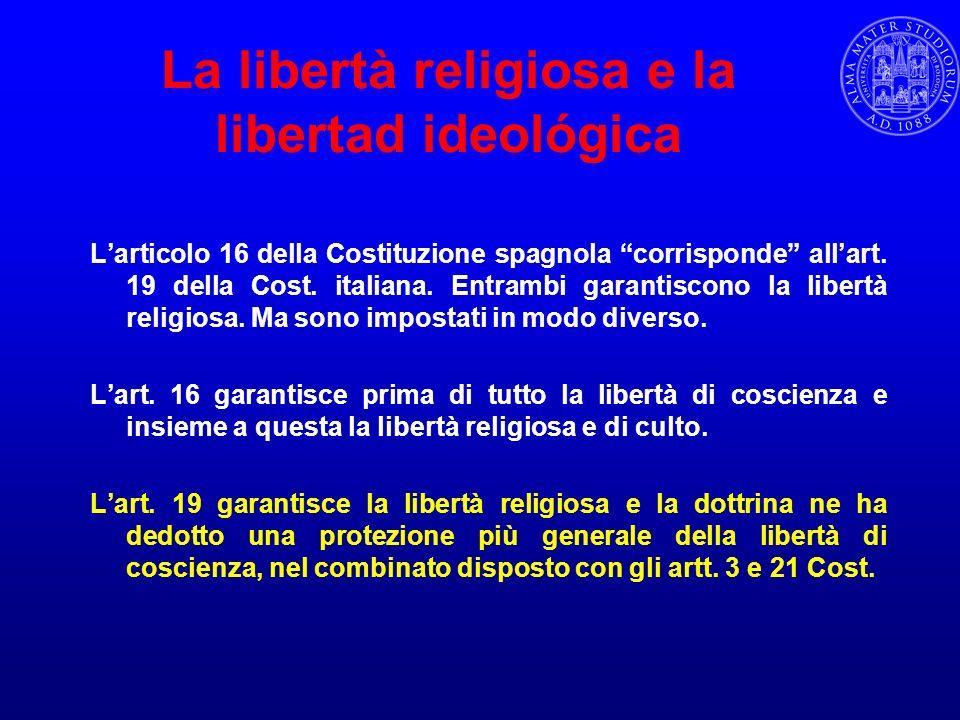 La libertà religiosa e la libertad ideológica